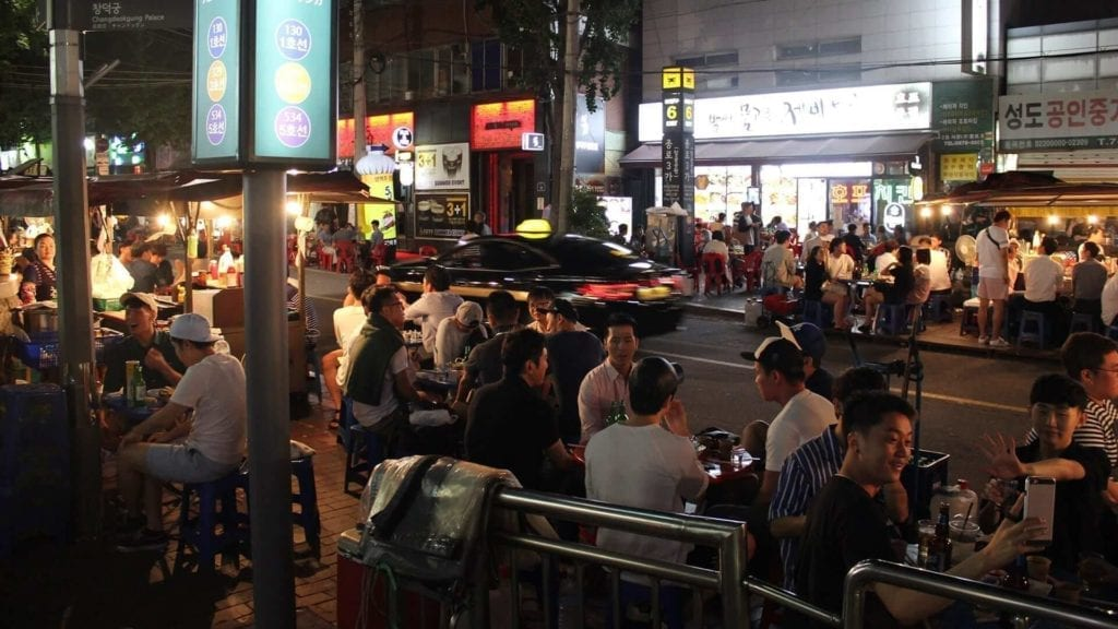 seoul street in evening