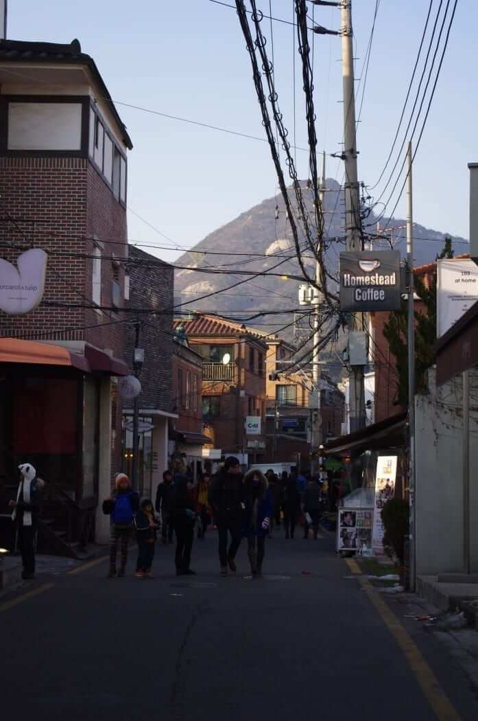 Seoul city streets with mountain view