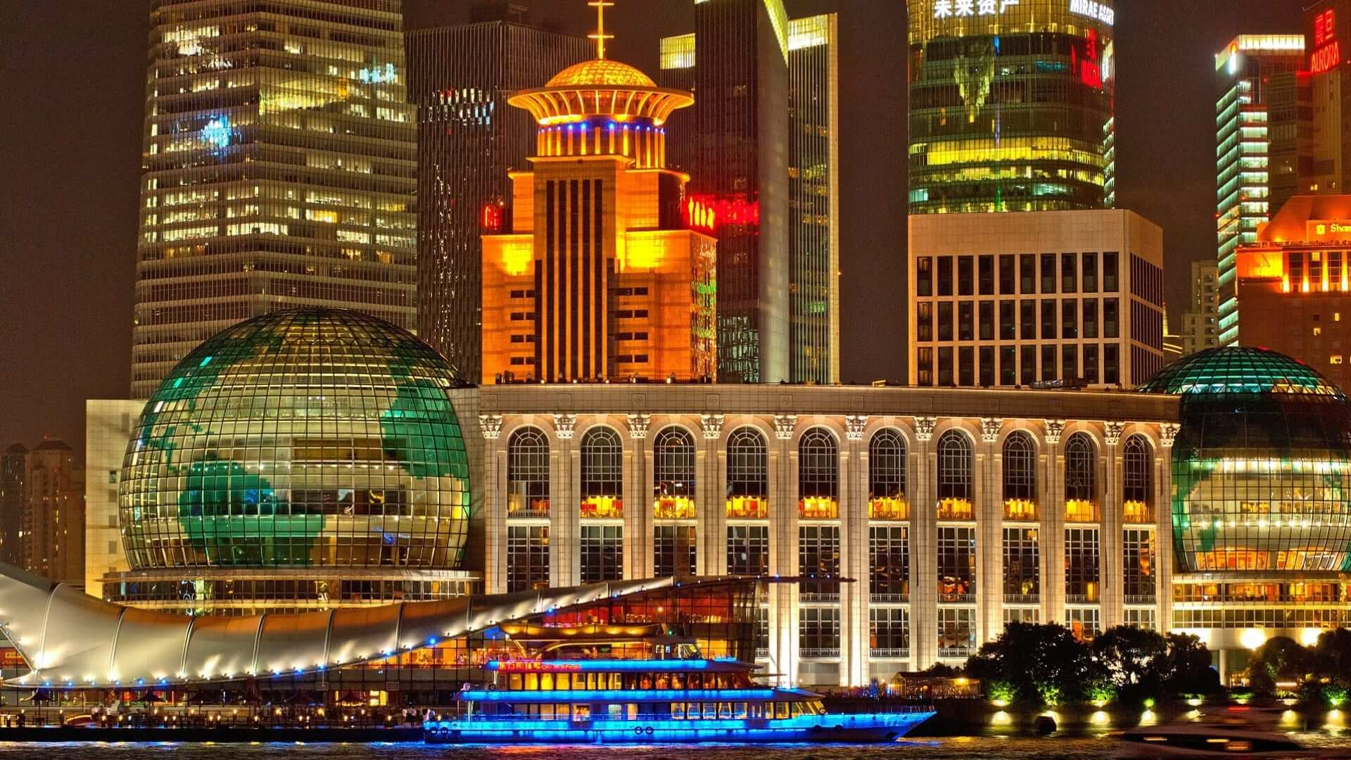 Illuminated buildings in Shanghai during night in China.