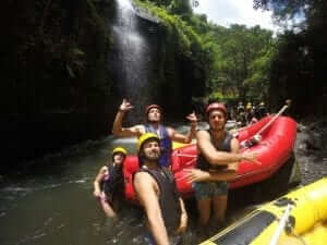 taking a selfie during rafting with an action camera