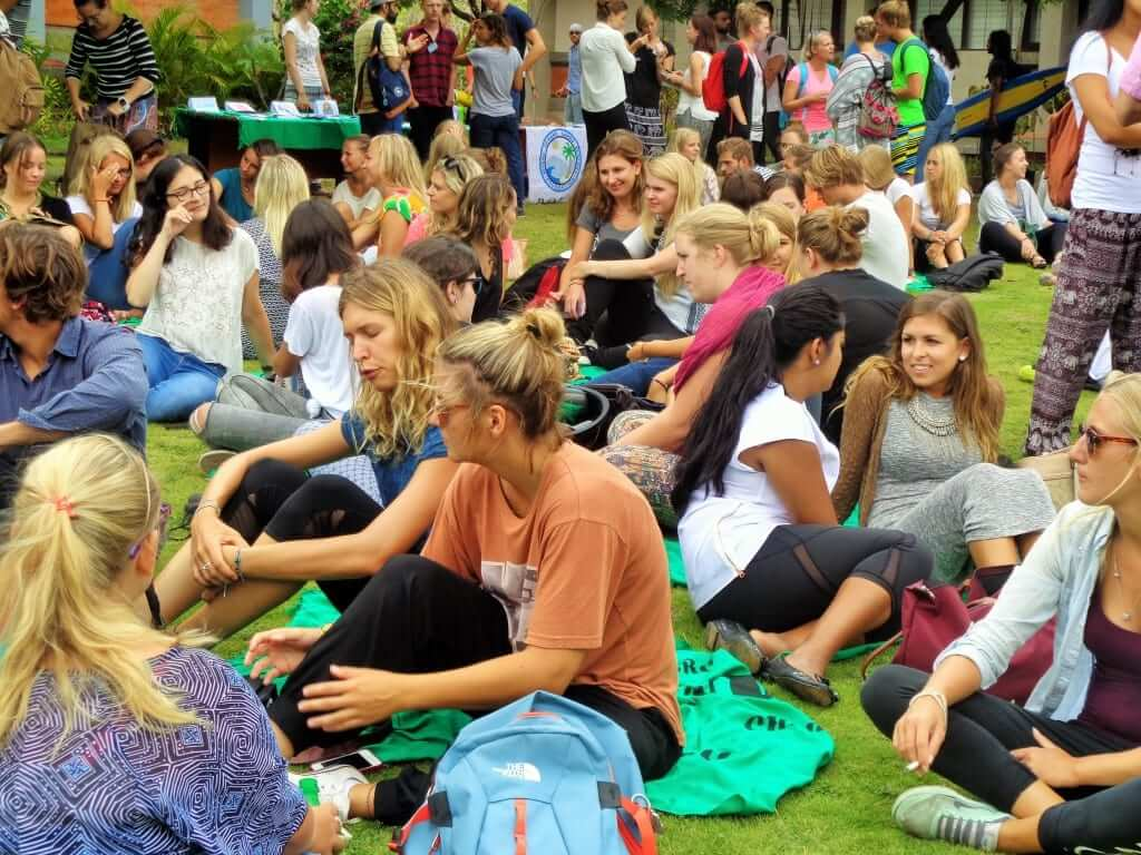 picnic day in campus all of the students are happy to attend it