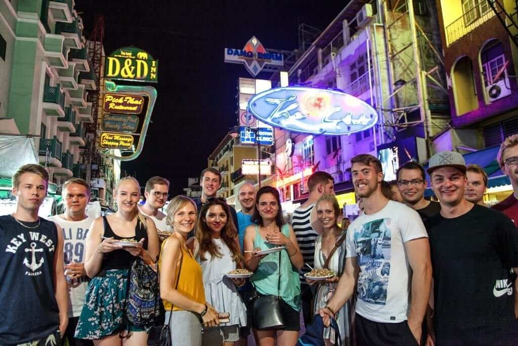 students in khao san thailand