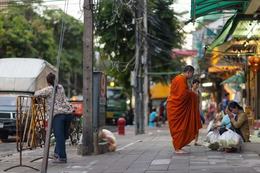 how the locals greeted the monk in Thailand