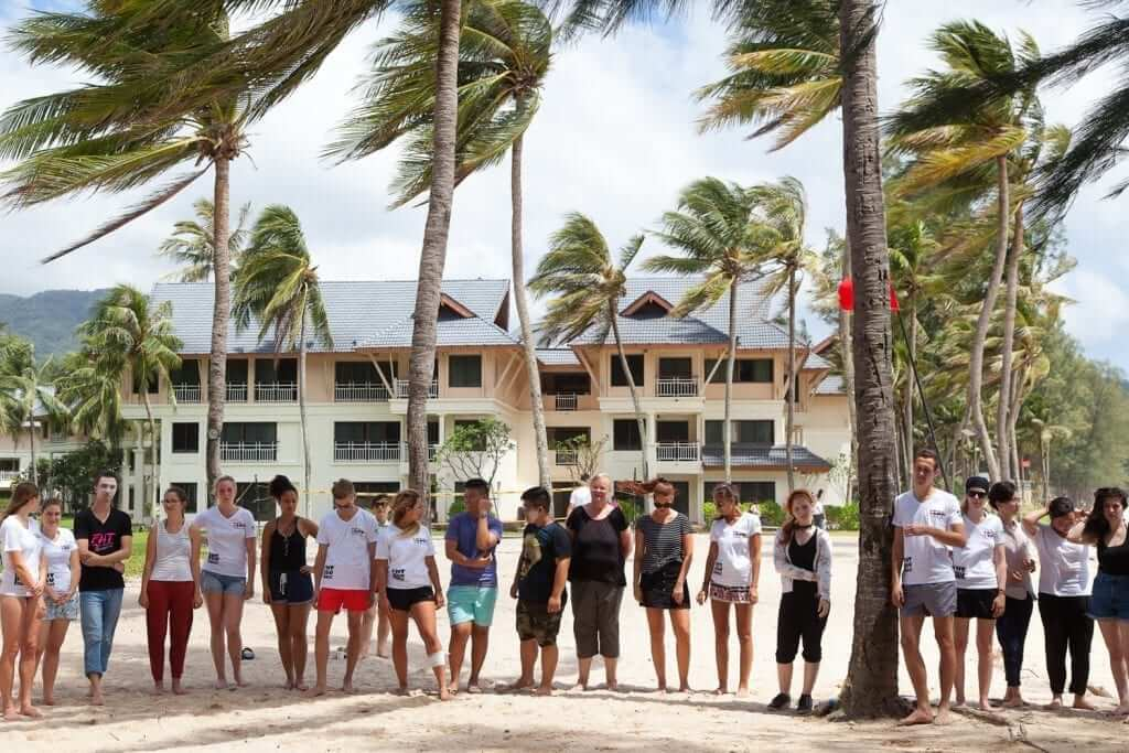 group of people standing below the coconut trees