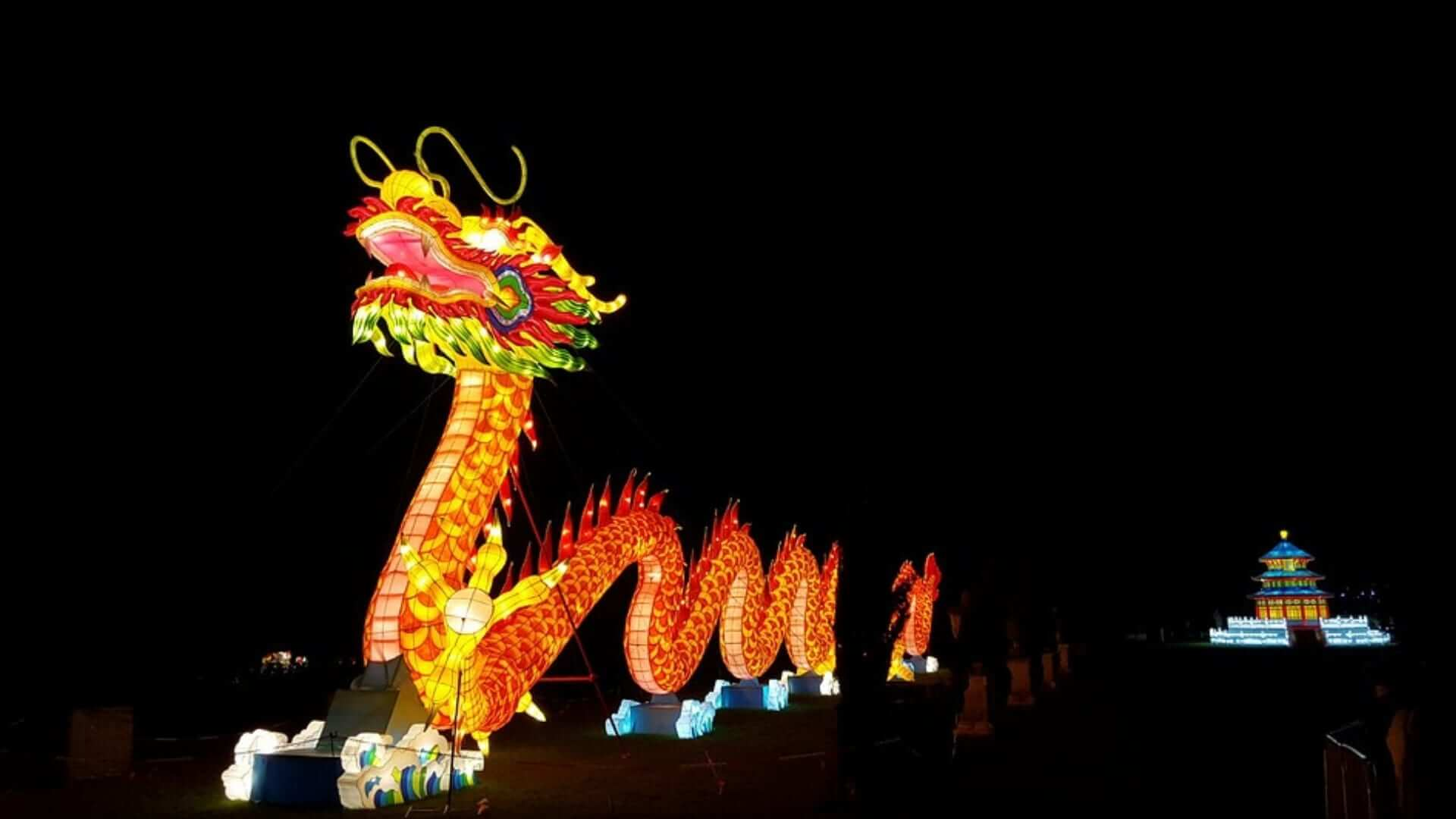 An illuminated Chinese dragon during a lantern festival in China.