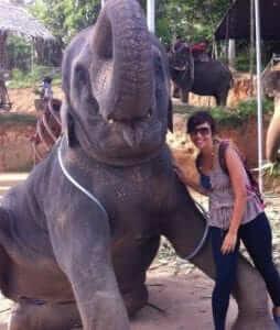 a girl with an elephant
