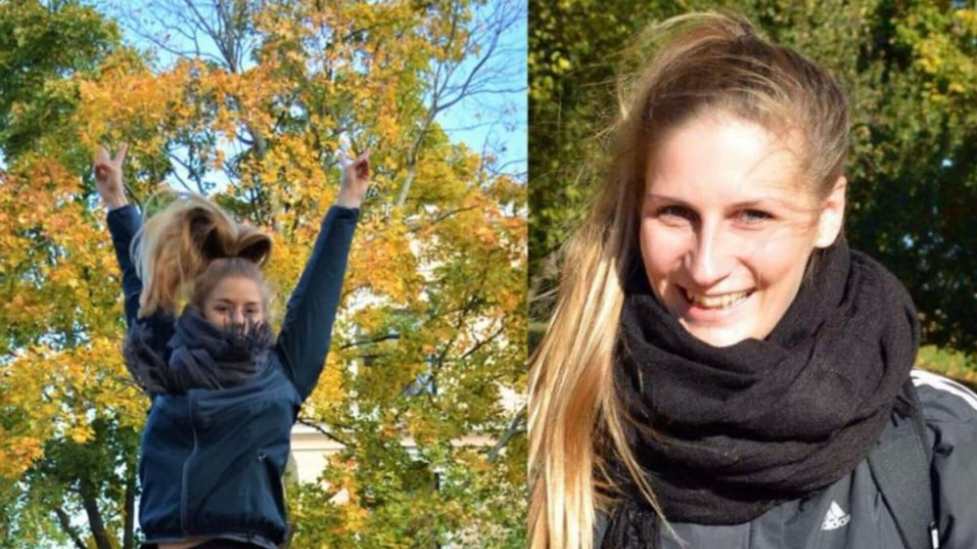 Two smiling woman in front of trees with orange leaves during fall and one of them is jumping in Helsinki.