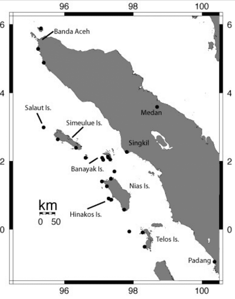a small map to show where Nias Island located.