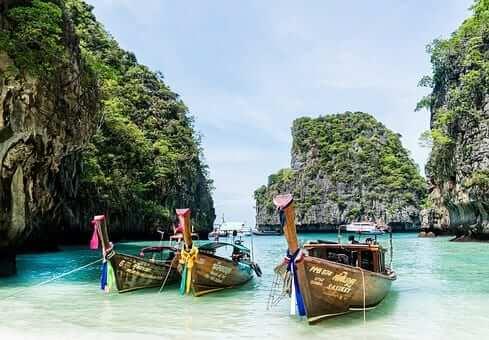 longboat docked in phuket