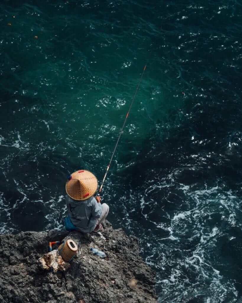 local balinese fishing in the ocean
