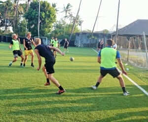 two teams racing to the final of football competition in bali
