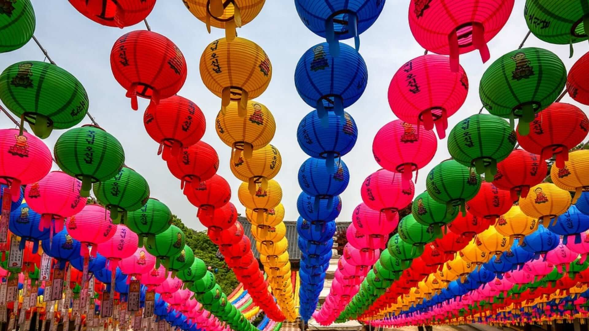Many colored lanterns are hung up as decoration to celebrate the birthday of Buddha in South-Korea.