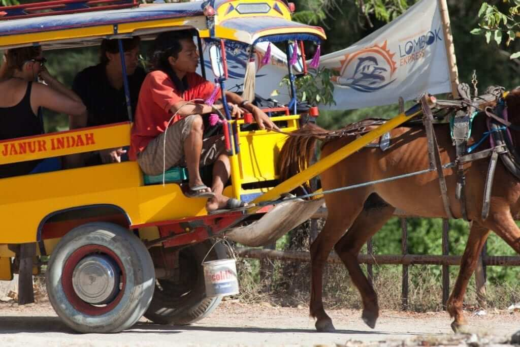 traditional public transportation is still exist in Lombok island, Indonesia