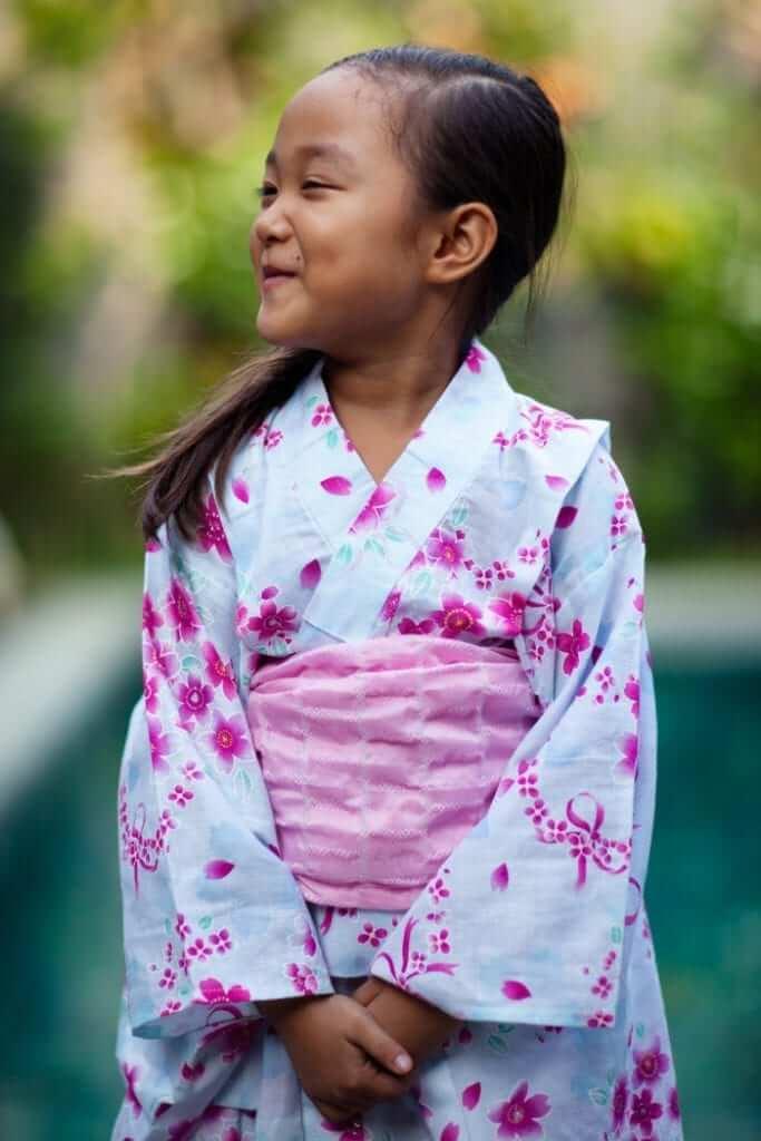 little girl wearing kimono, Japanese cultural dress