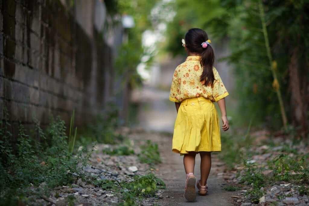 little lady walking away