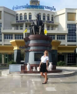 asia exchange student in front of prince os songkla university in phuket, thailand