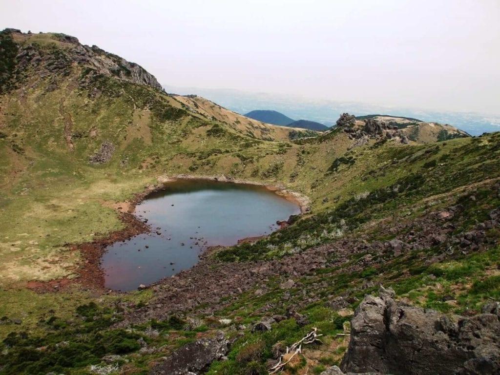 Crater lake on top of Hallasan Mountain
