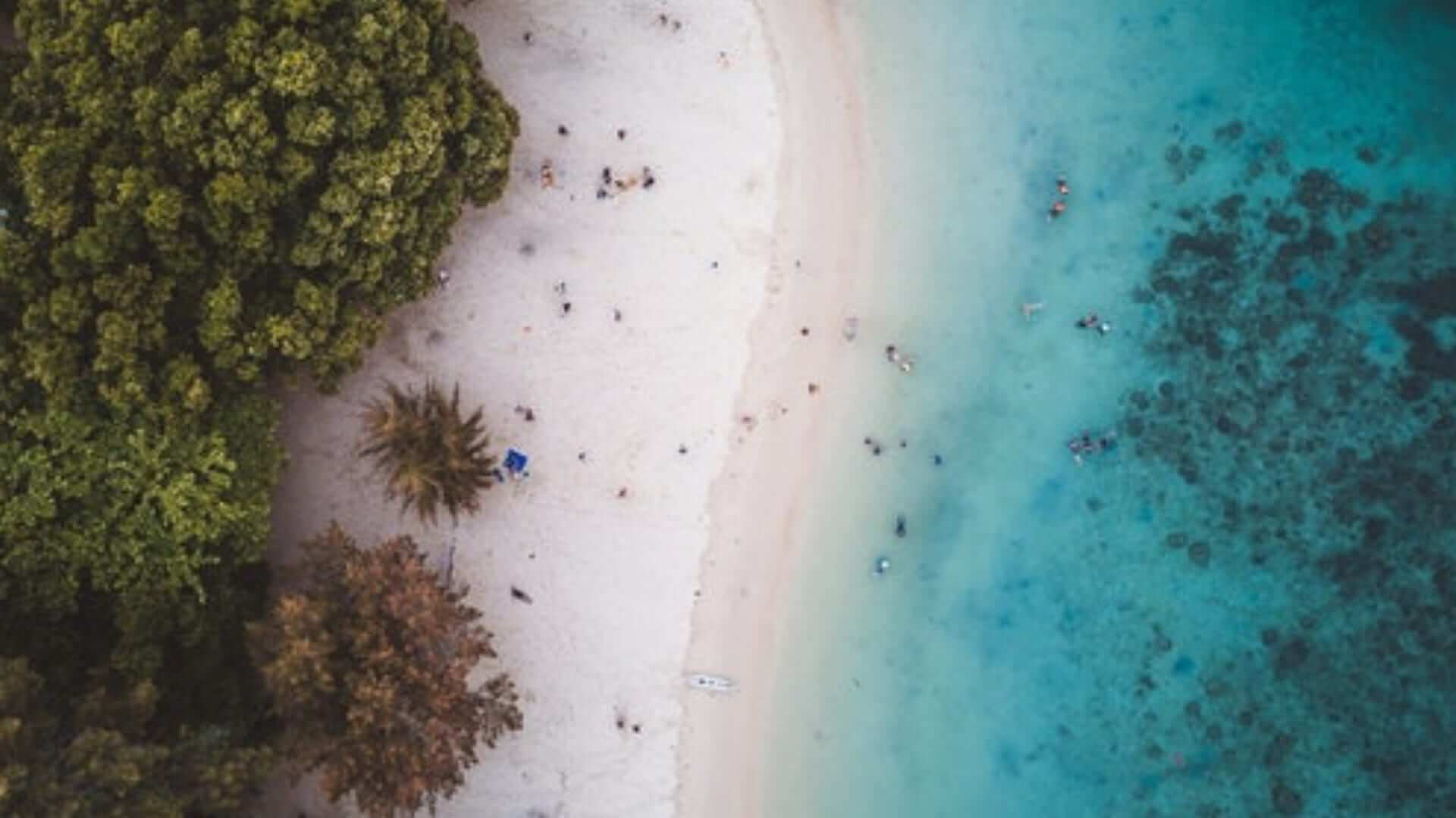 Aerial photo of a white beach with green trees and blue water with people in Malaysia.