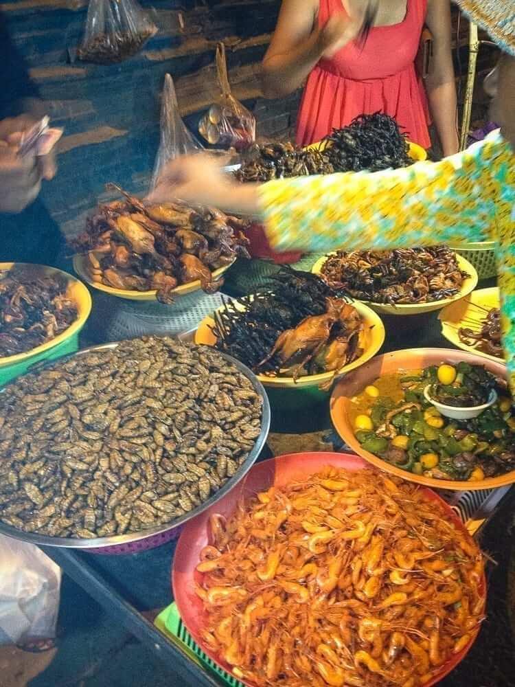 Local food market in Cambodia