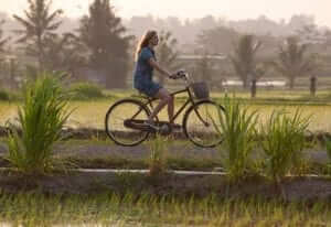 girl cycling in small road along with ricefield around
