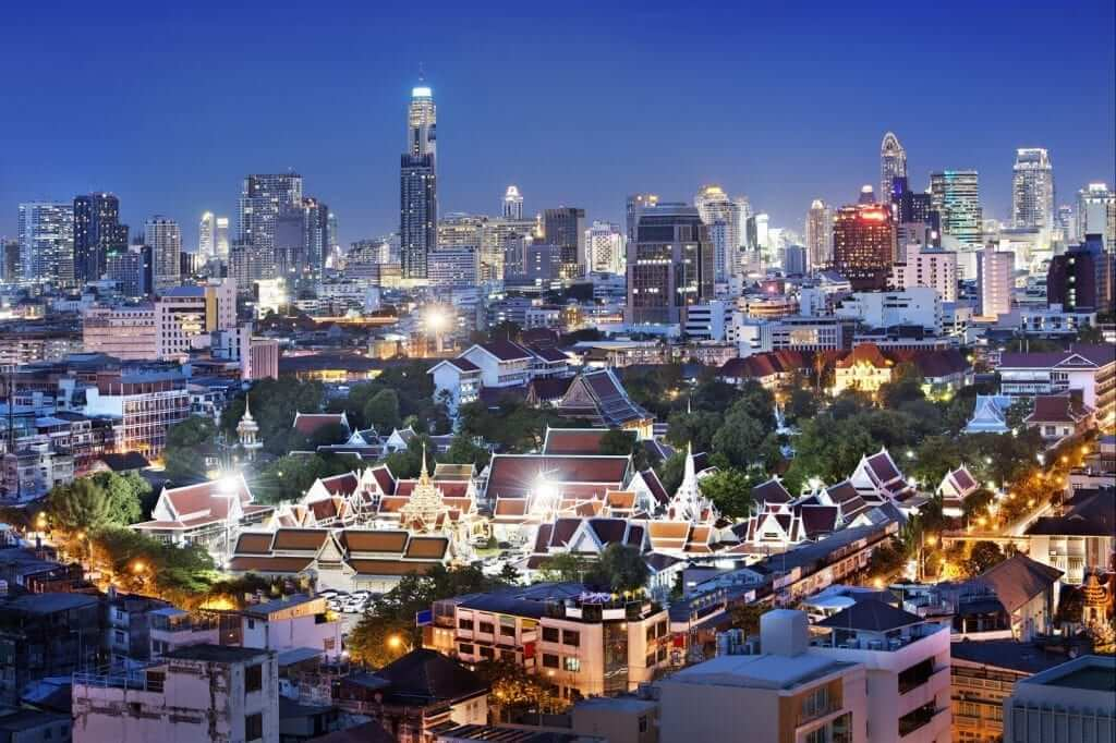 thousand of lights in bangkok city from above