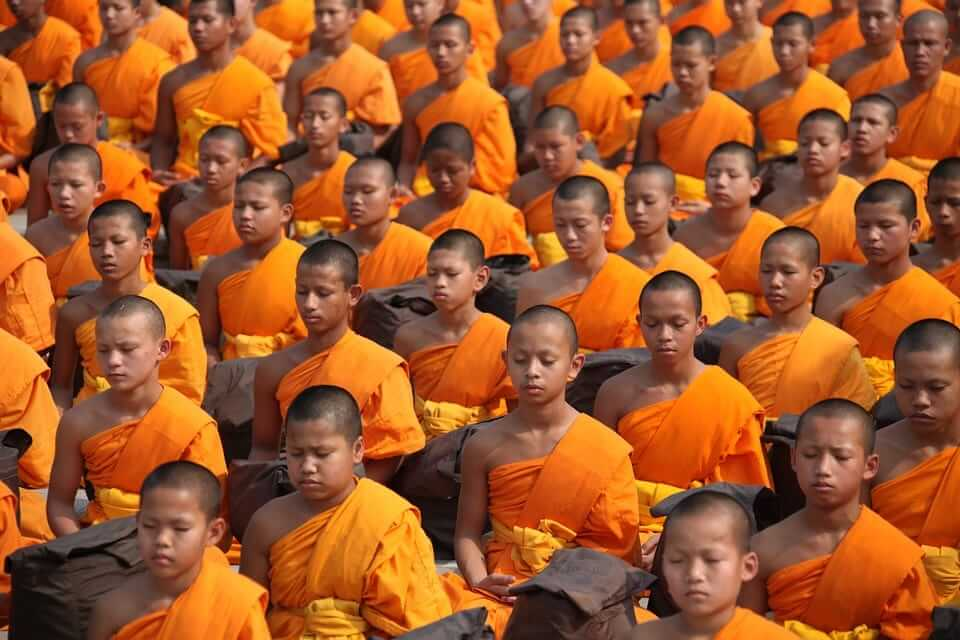 meditating monks