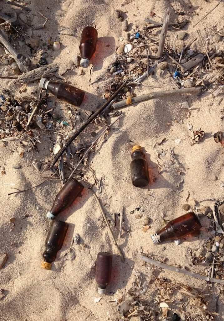 glass bottles on the beach