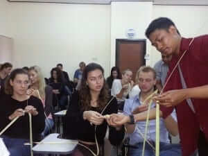 teaching how to make a cultural decoration