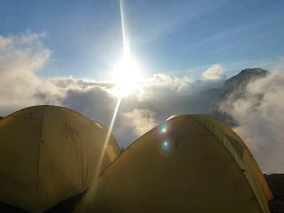 camping on top of rinjani mountain