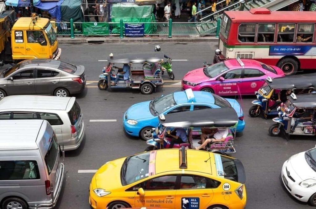 traffic in the streets of bangkok