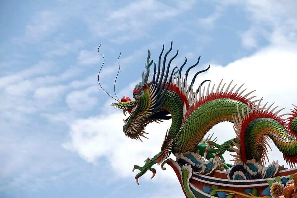 A great green dragon statue