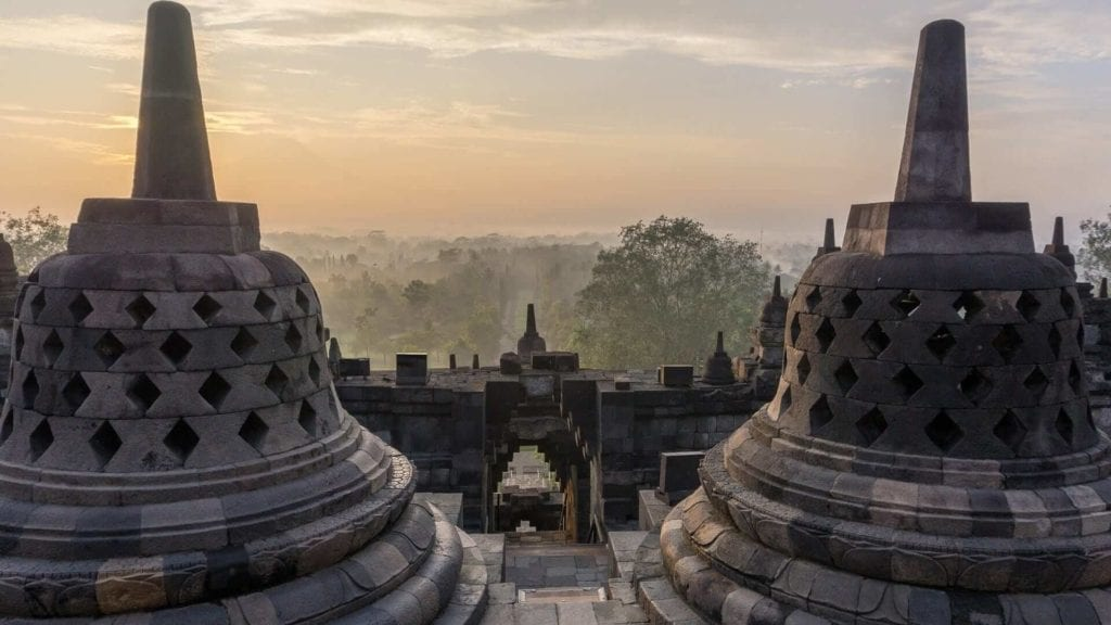 Two stone structures of borobudur temple in Indonesia