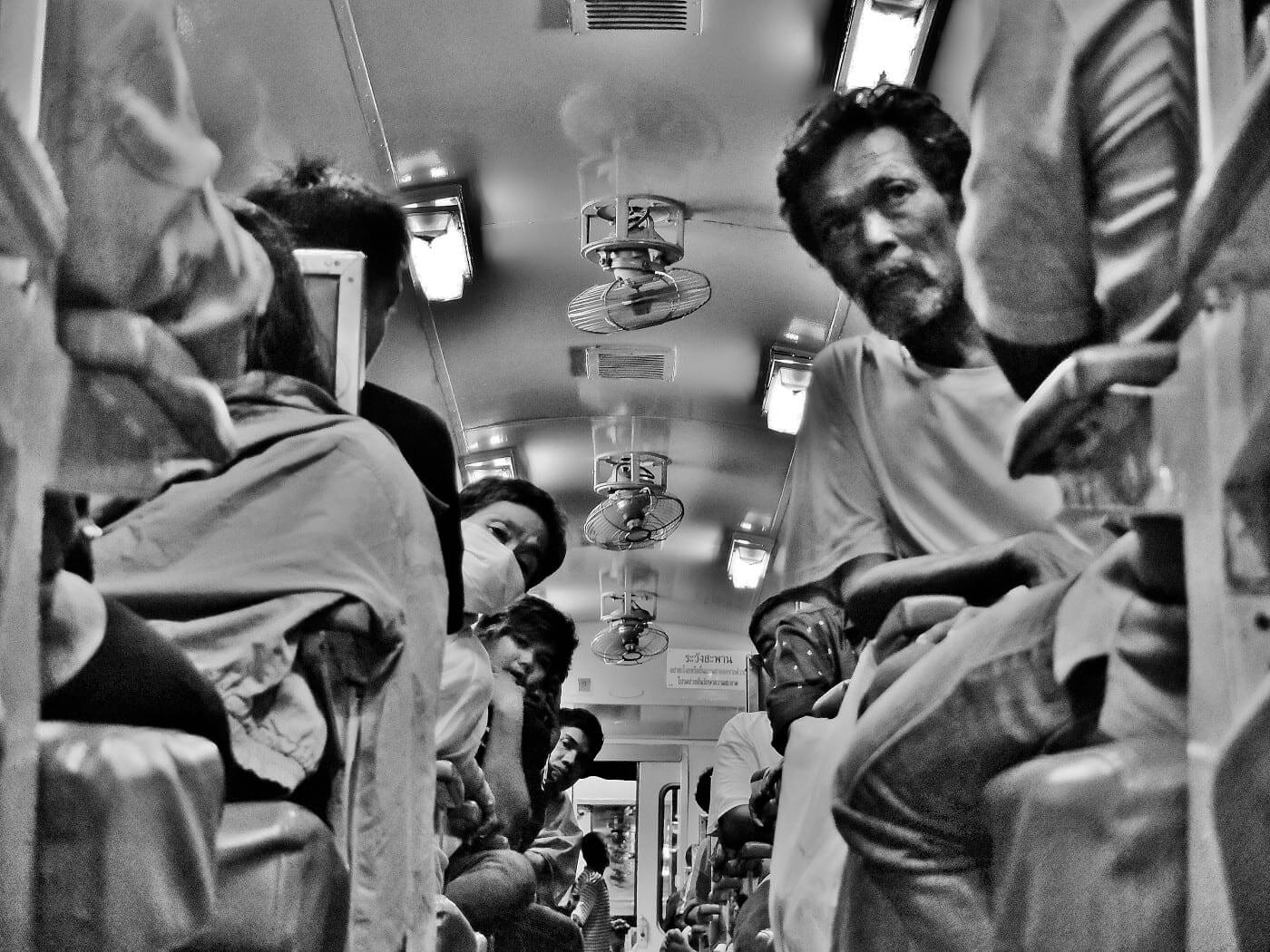 people in the train in bangkok thailand