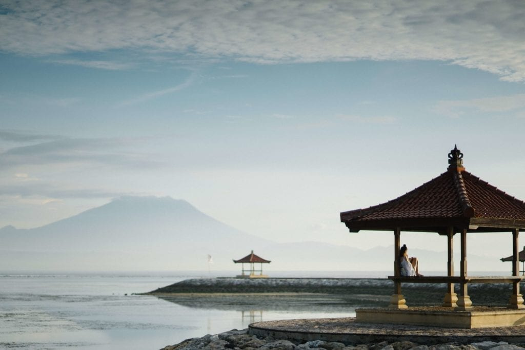 gazebo next to the ocean in sanur beach bali indonesia
