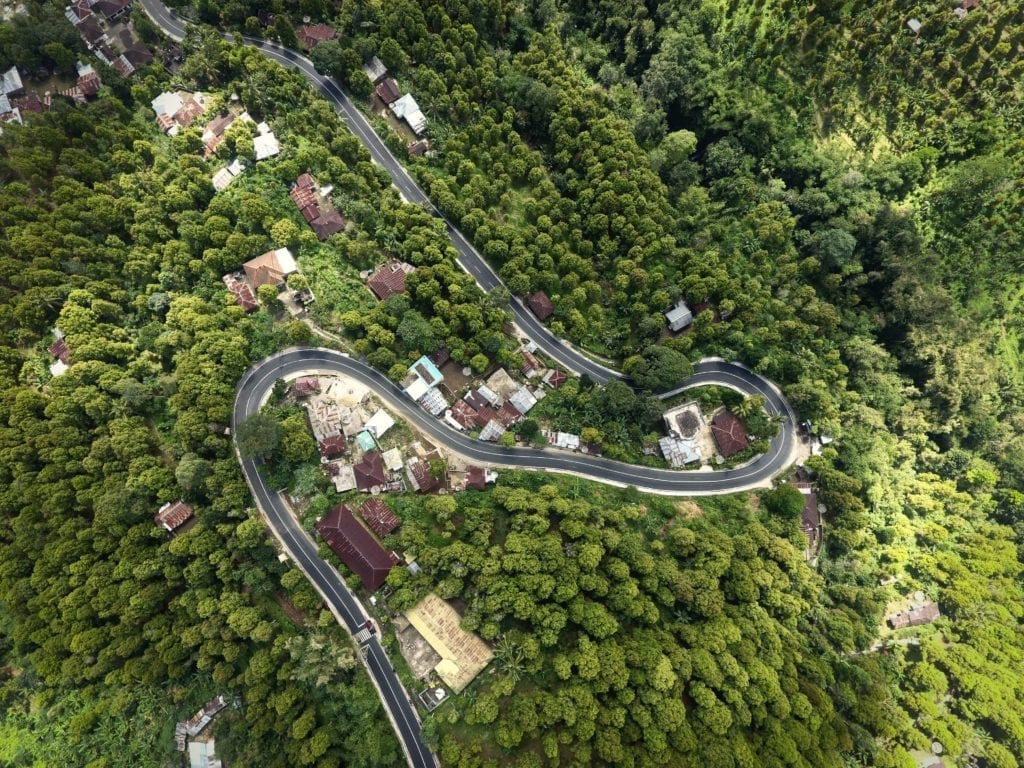 bali roads from above taken with the drone
