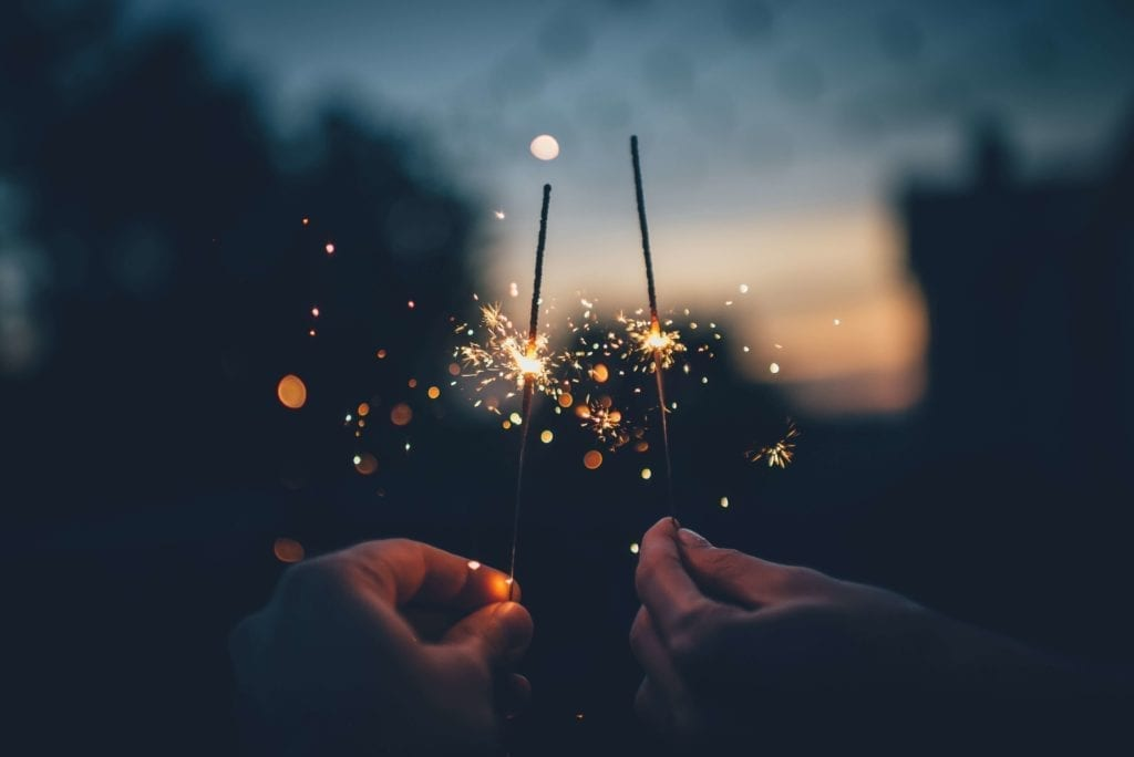 Two hands holding sparklers in the night