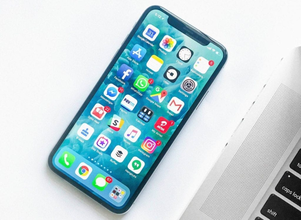 mobile phone screen with all uploaded apps