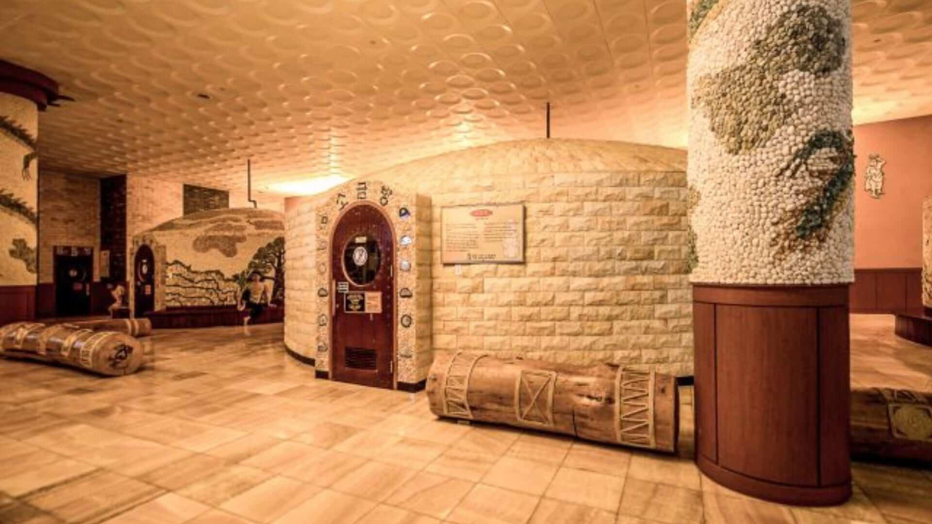 The inside of a Korean sauna made of all kinds of white stones in Seoul.