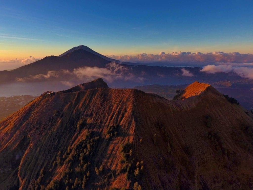 A cloudy sunrise at Mount Batur in Bali.