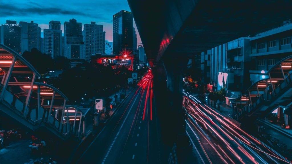 flashing traffic light in bangkok