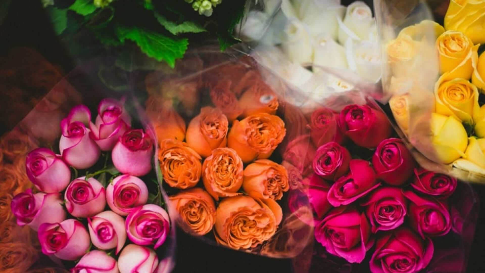 Flower bouquets with pink and orange roses at the flower market.
