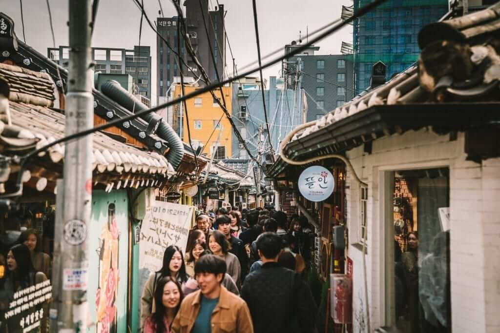 crowded street in south korea