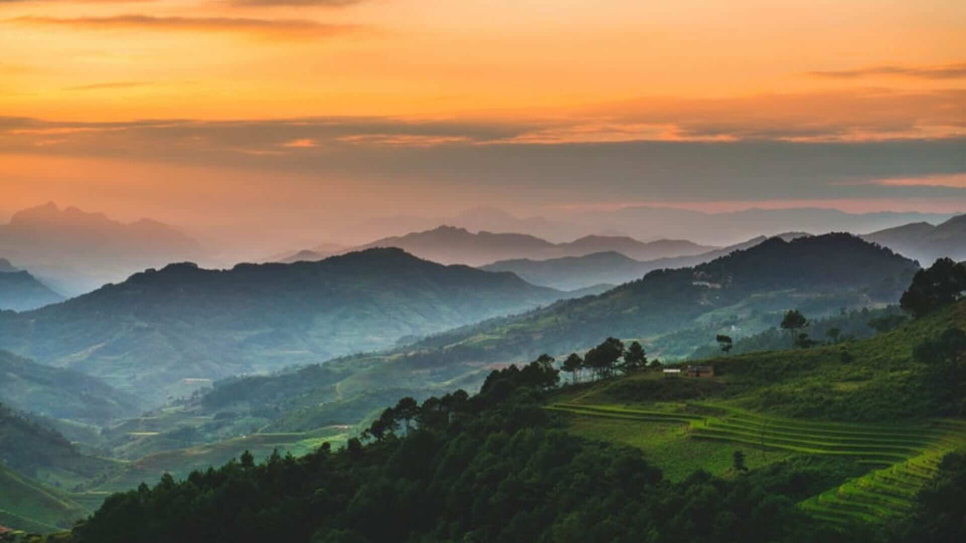 A view of mountain ranges during sunset in Vietnam.