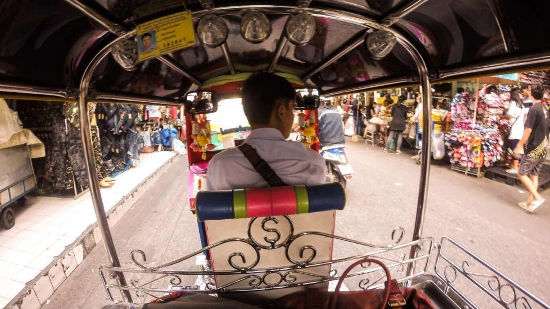 A view from a Thai driving a Tuk-Tuk in Bangkok.