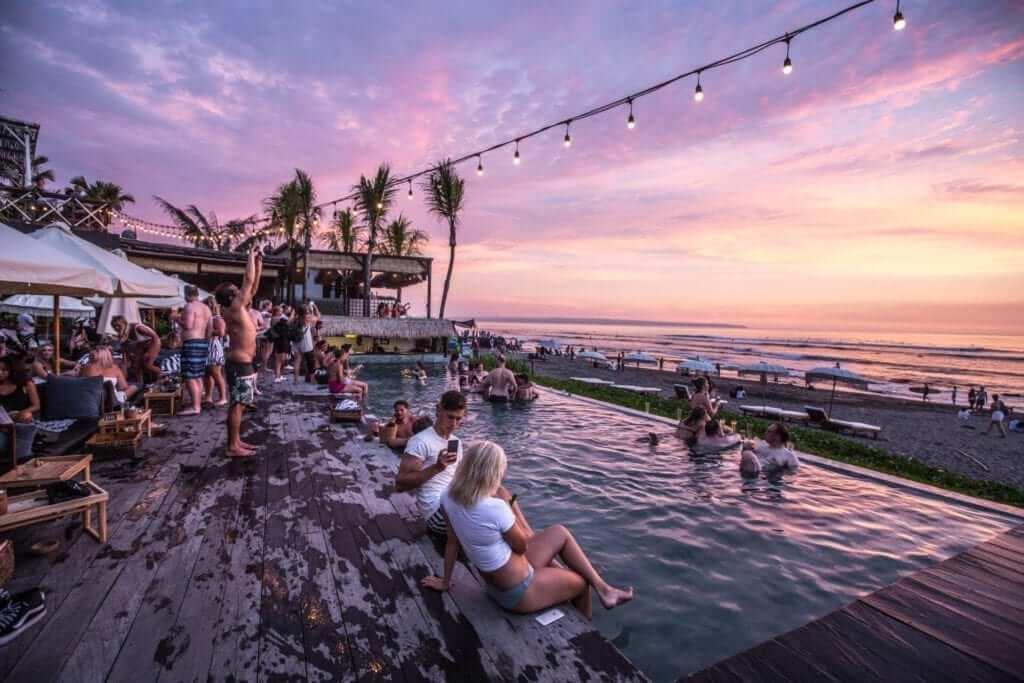 beach club in Bali during sunset