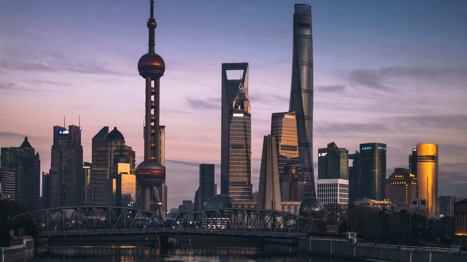 Buildings in Shanghai during sunset in China.