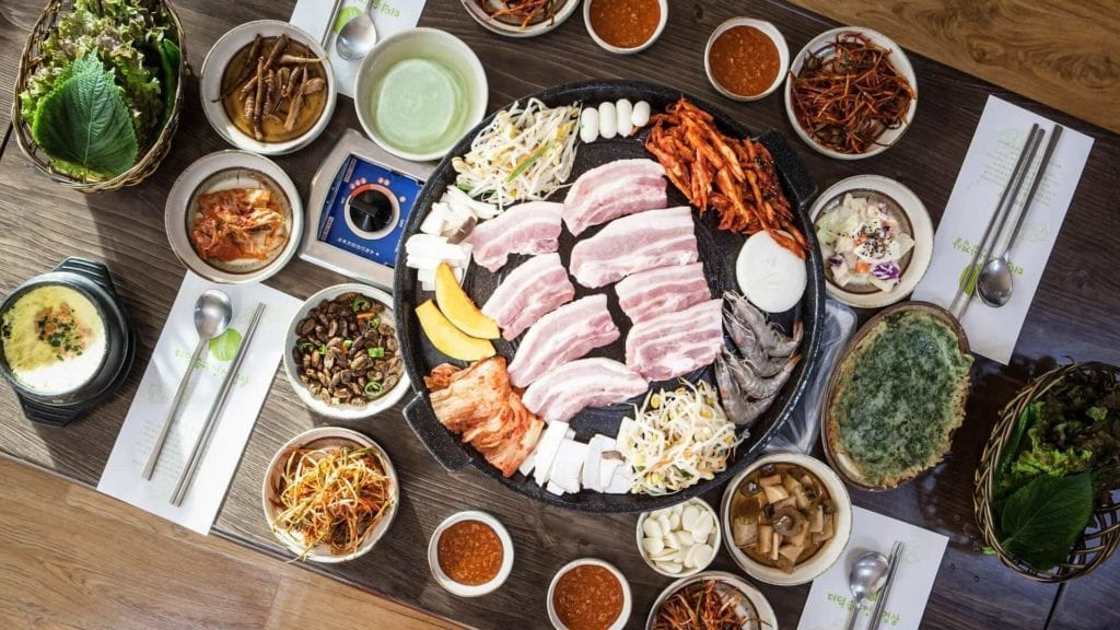 Barbeque table setting at a Korean restaurant