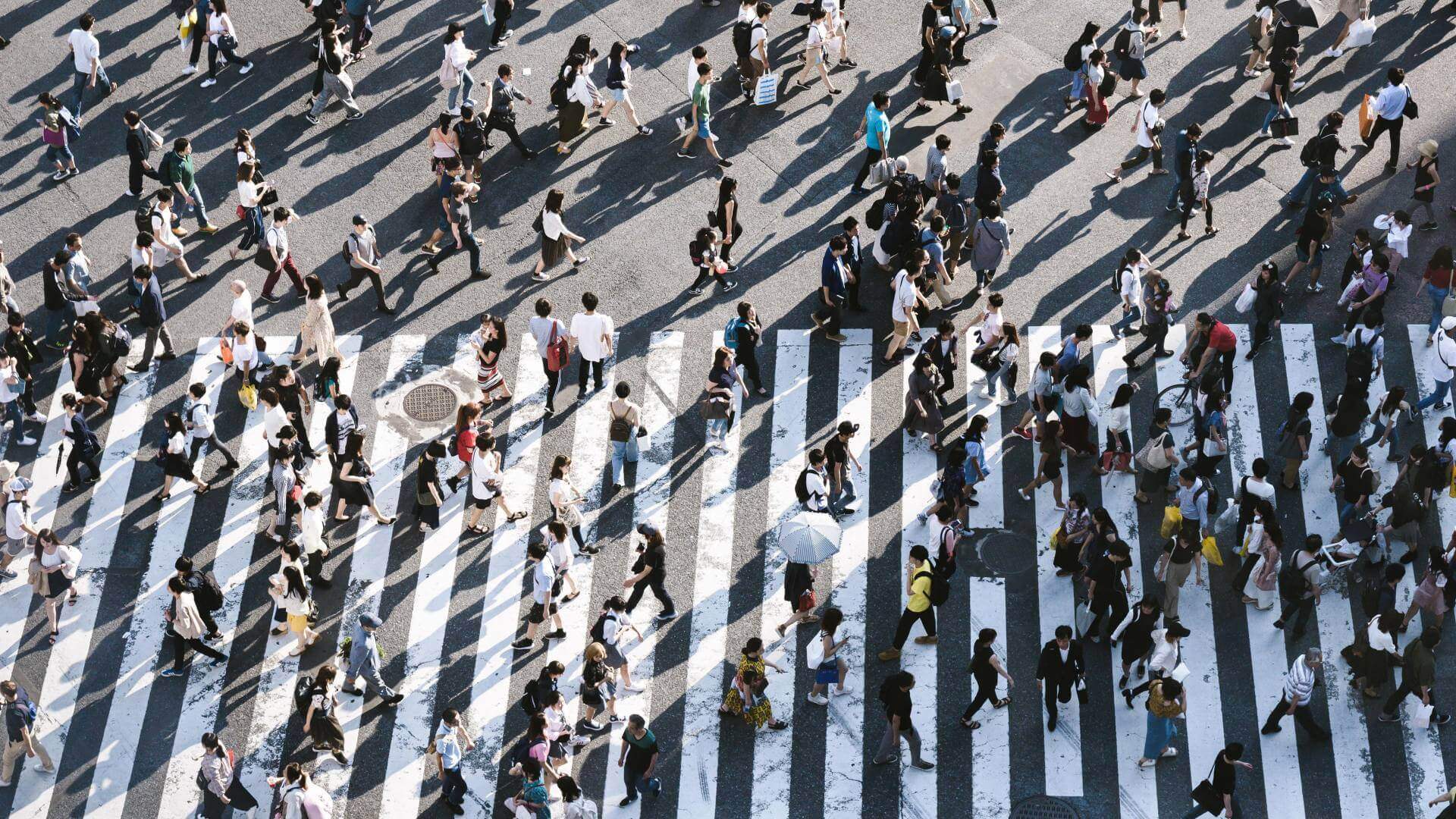 Group of people crossing the road in Japan