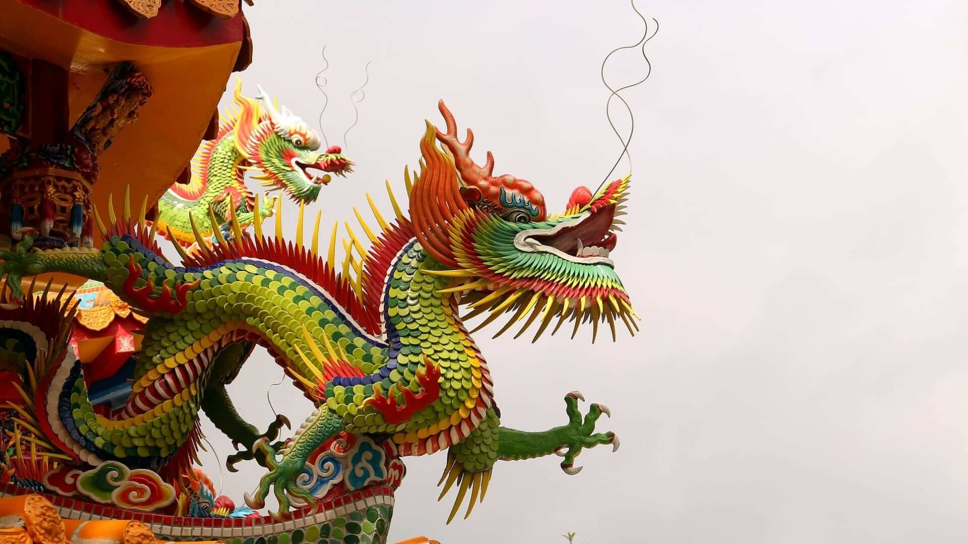 A colorful dragon as decoration of a building in Taiwan.