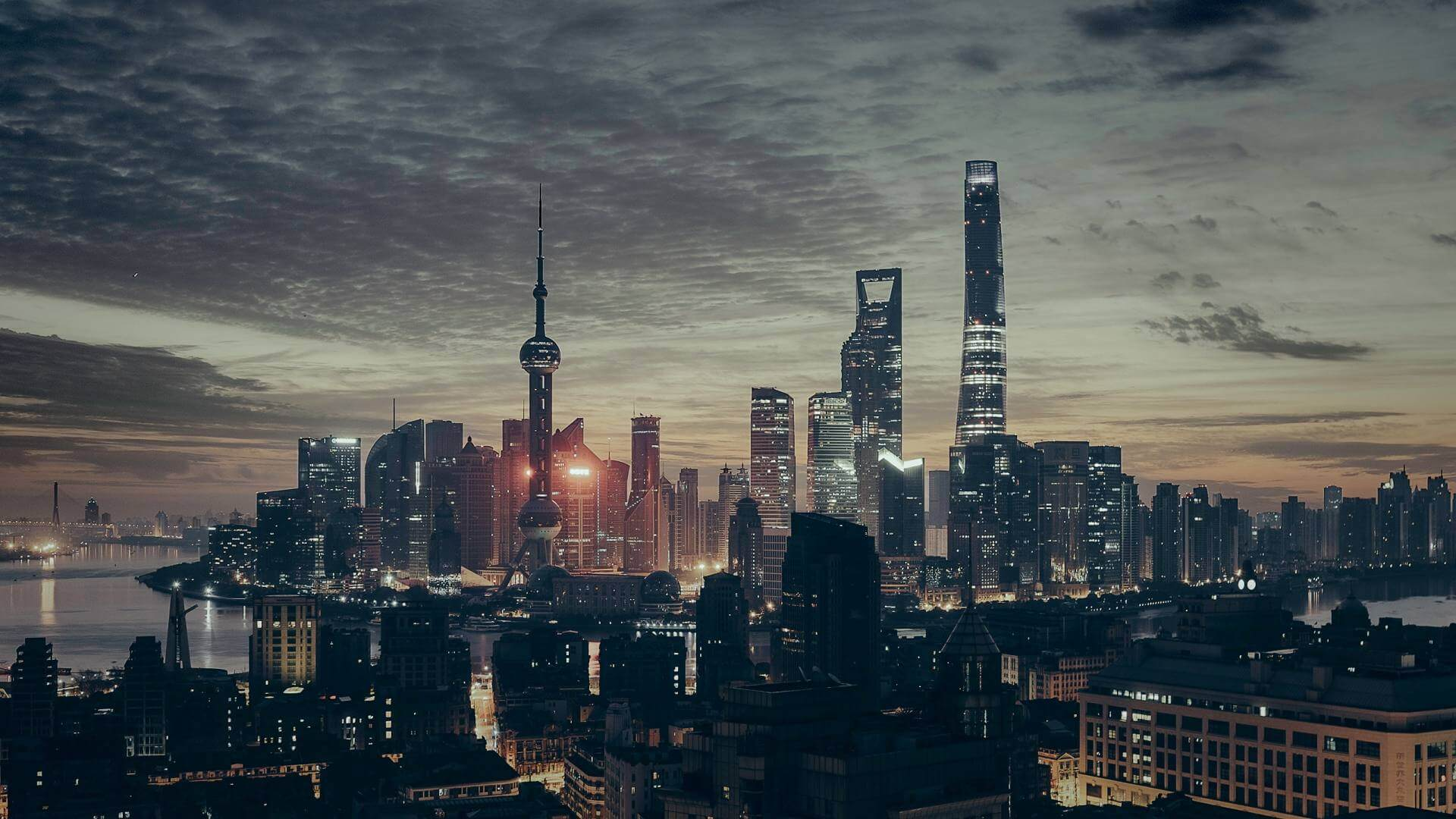 Illuminated buildings under a grey sky during night in Shanghai.